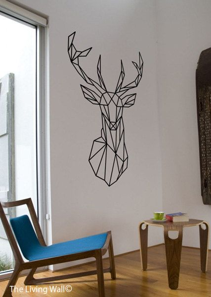 Geometric deer head decal geometric animal stickers deer - Kreative wandbemalung ...