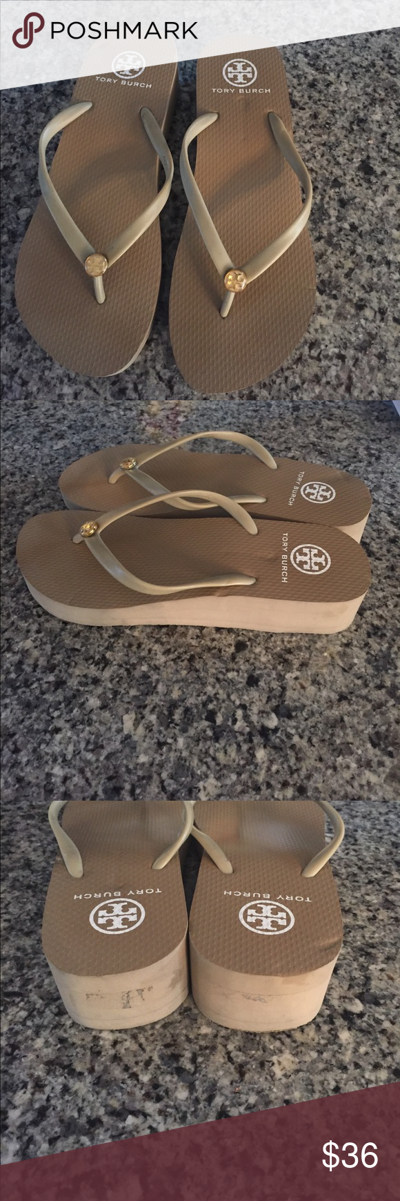 52b349c34d Tory Burch Flip Flops used Tan Tory Burch bought from another  Posher-thought were an 8.5. Wedge heel. Price firm to cover my own purchase  and shipping ...