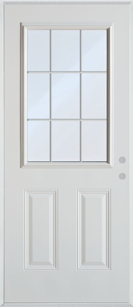 37 375 Inch X 82 375 Inch Clear 1 2 Lite 2 Panel Prefinished White Left Hand Inswing Cladded Steel Prehung Front Door With 9 Lite Internal Grill Ene Doors Entry Doors Home Projects