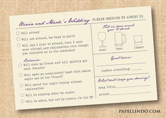Funny vintage wedding Mad Libs reply RSVP card printable digital