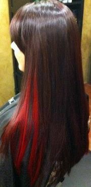 I Fancy Some Bright Red Streaks Through My Hair Would Involve Bleaching It First Though Hair Red Hair Streaks Bright Hair Colors