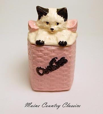 Cookie Jar Maine Vintage Mccoy Kitten Cat In Pink Woven Basket Cookie Jar  Cookie