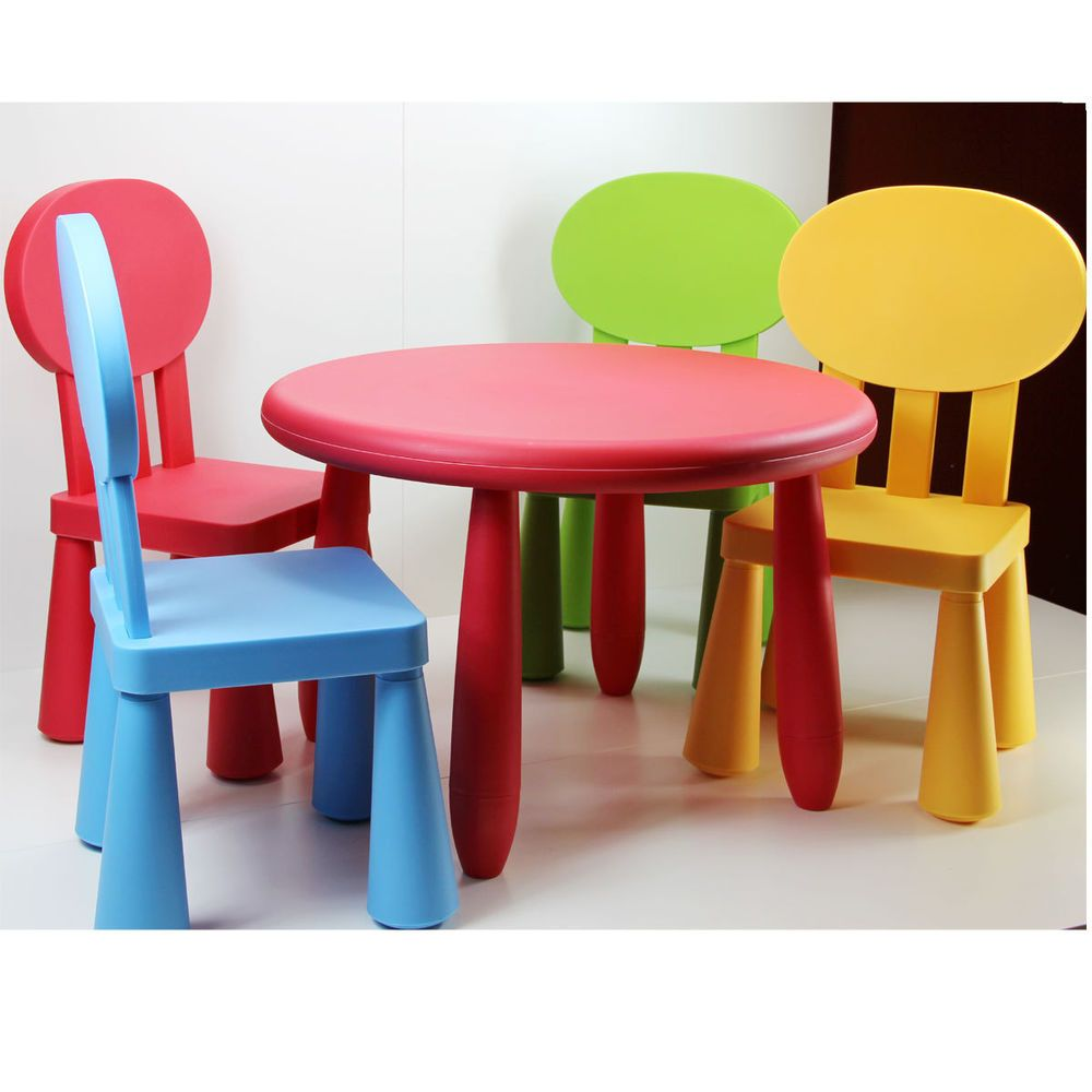 New Kids Table And 4 Chairs Set Durable Plastic Childrens Indoor