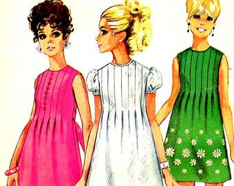 Vintage Mod 1960's Simplicity 7633 Tucked Front Mini Dress Sewing Pattern--UNCUT--Bust 34