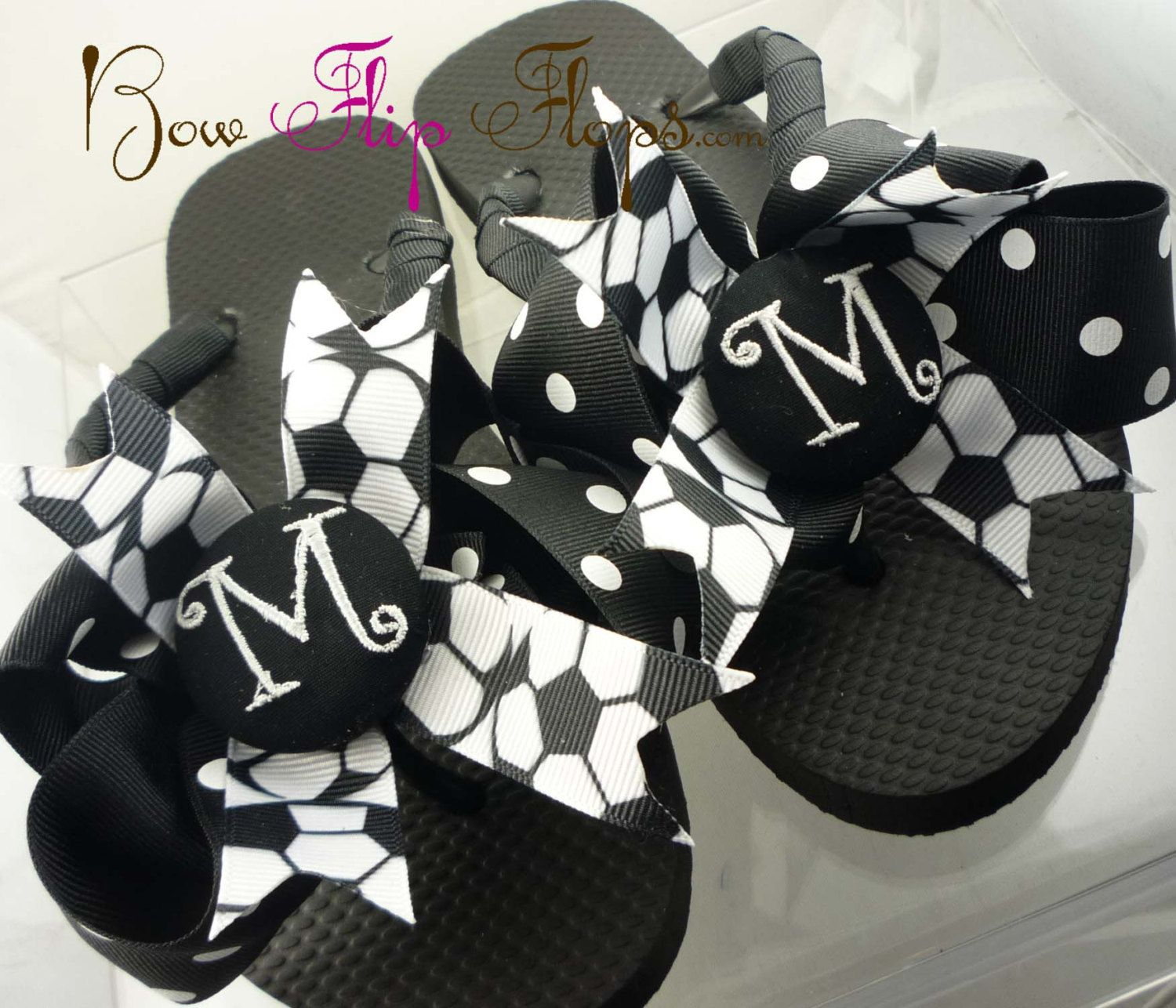 20c65d5935fc88  Amy Lyons Lyons Mendoza We finally mking some for ourselves  LOL! Soccer  Flip Flops Bow Number Personalized Monogrammed Mom