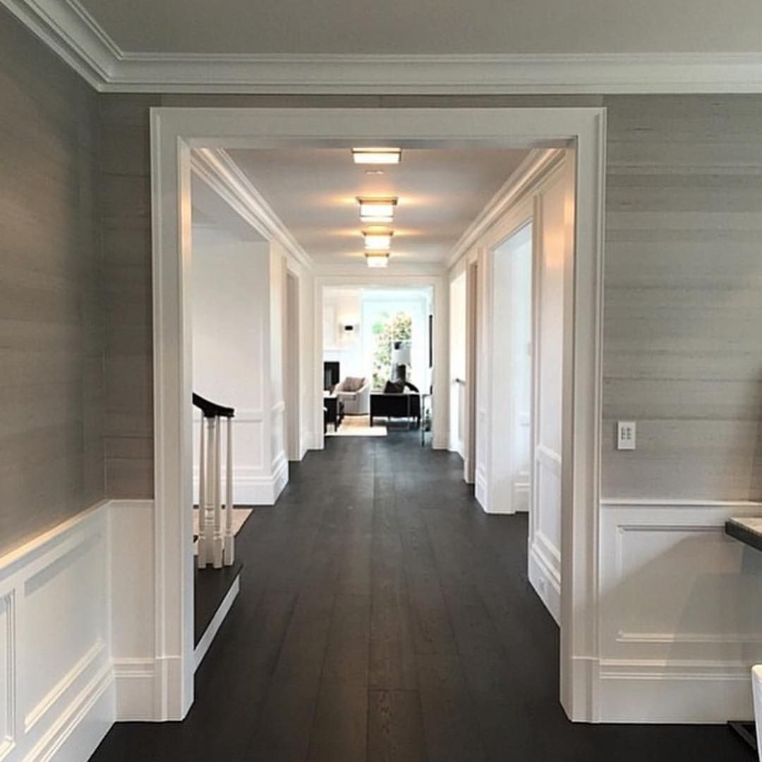 white panelling and dark wood floor | my new home! | pinterest