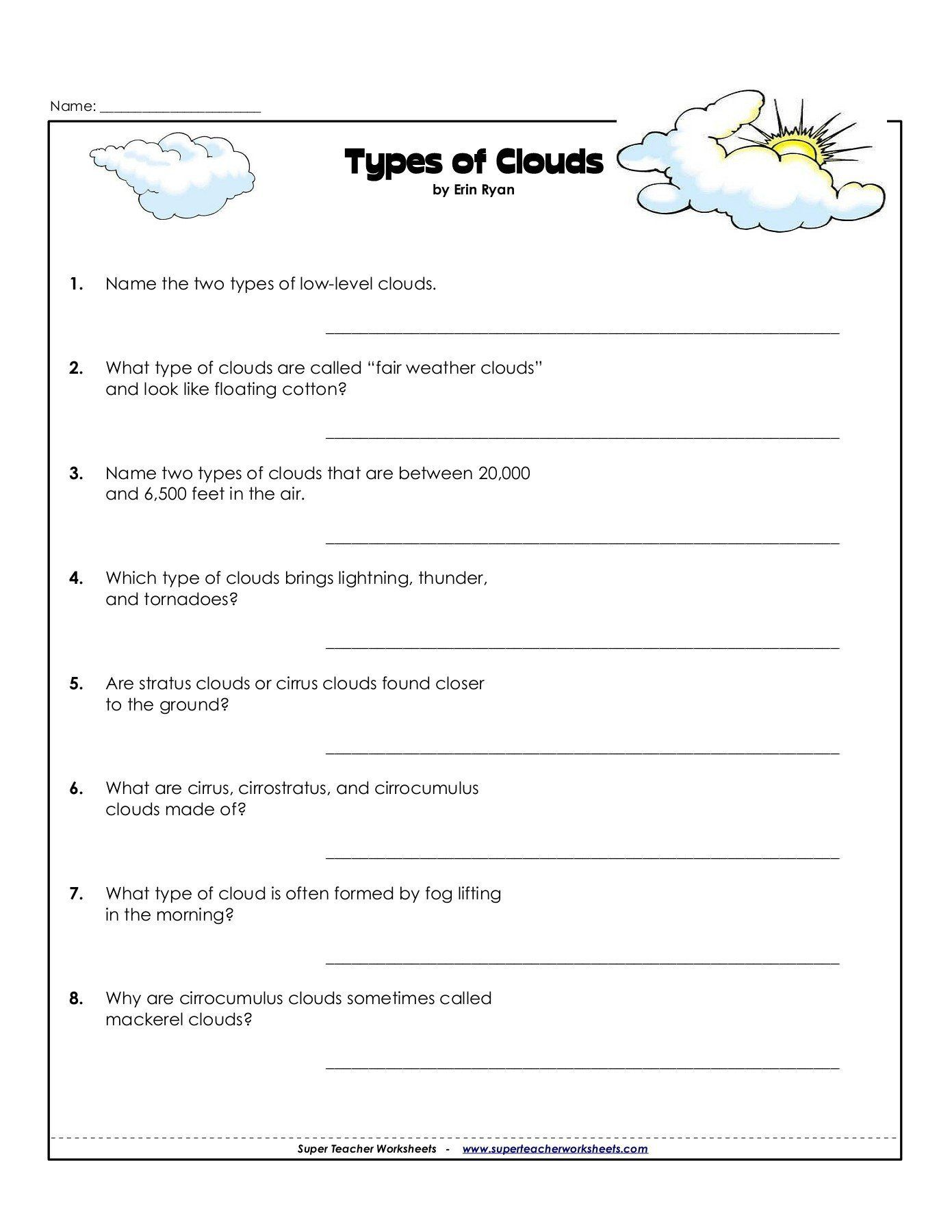 Types Of Clouds Worksheet Name Types Of Clouds Pages 1 3