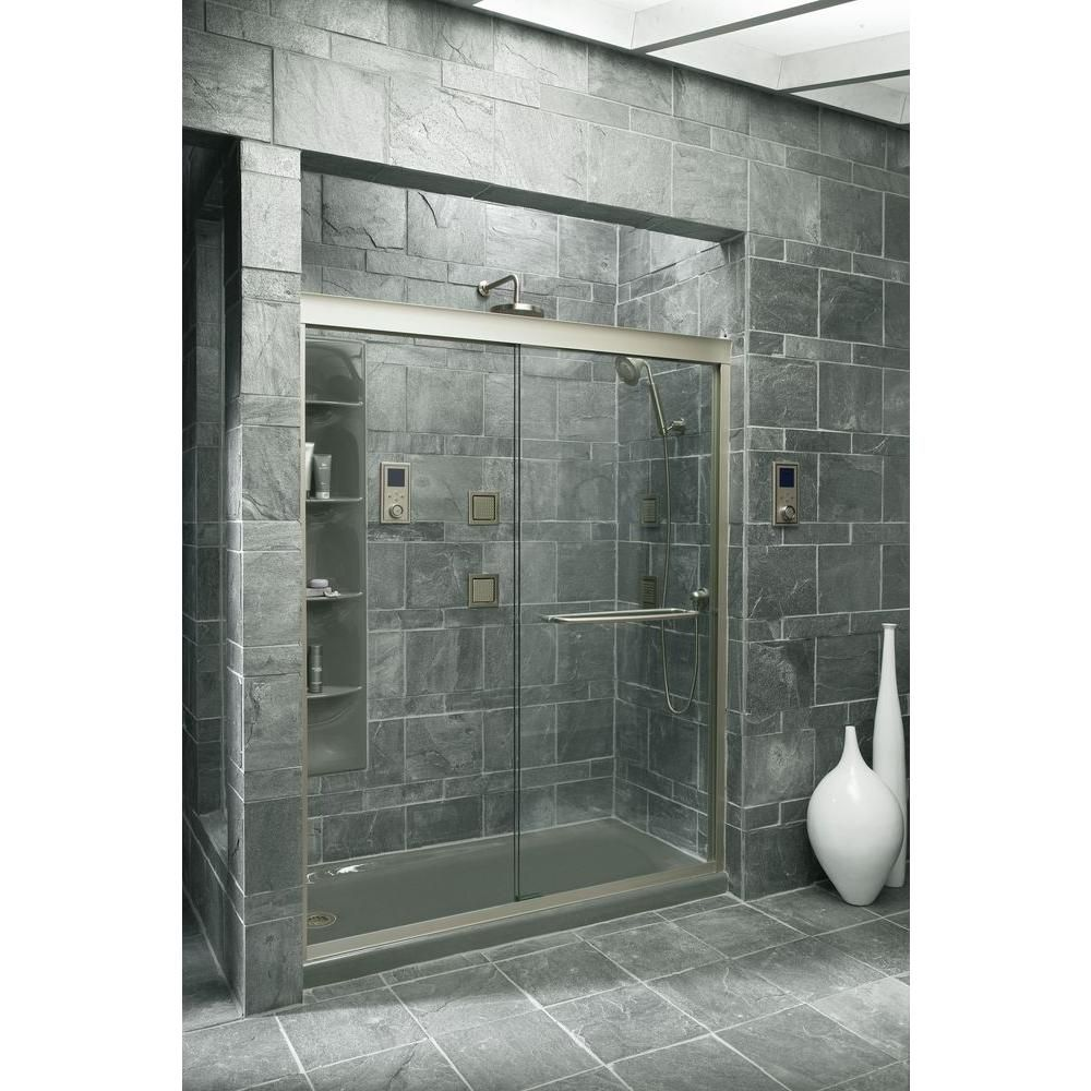 Kohler Fluence 59 5 8 In X 70 5 16 In Semi Frameless Sliding Shower Door In Brushed Nickel With Handle K 702207 L Nx Bypass Shower Door Frameless Sliding Shower Doors Shower Doors
