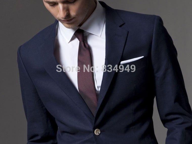 Custom Made Dark Blue Men Suit, Tailor Made Suit, Bespoke Light ...