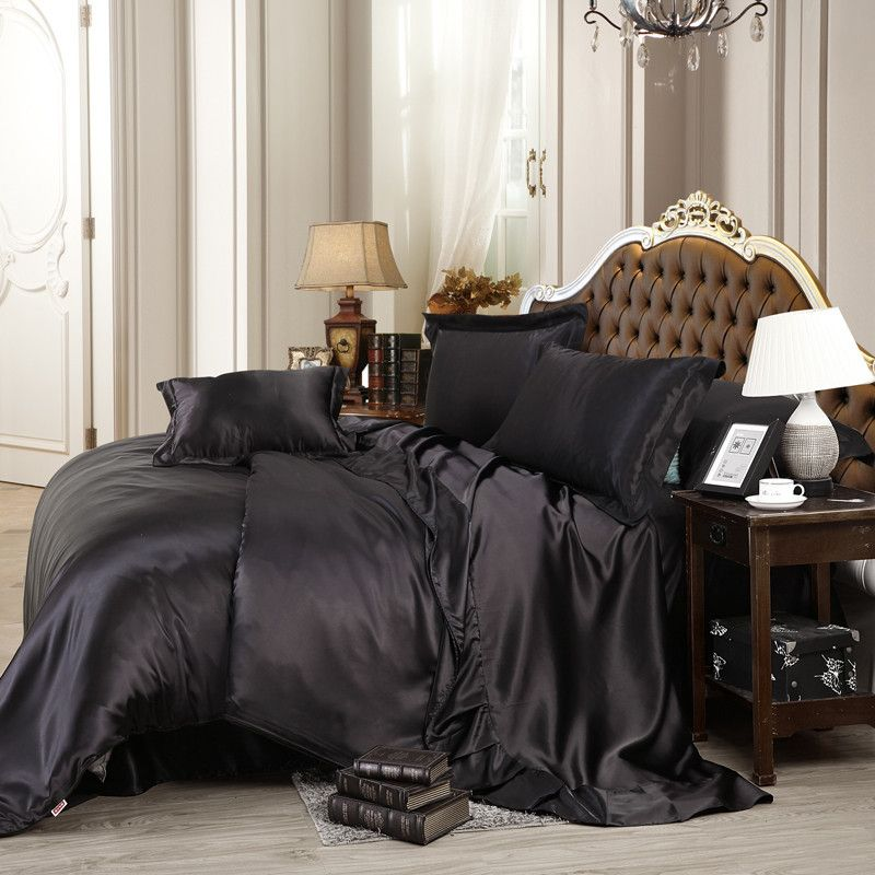 Black Luxury Bedding Sets Solid Silk Satin 4 Pcs Queen King Size