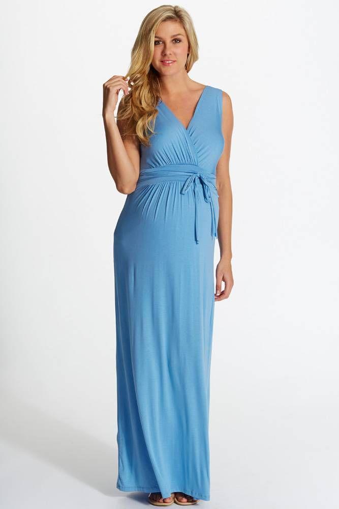 Blue Sleeveless Wrap Maternity/Nursing Maxi Dress   Maxi dresses ...