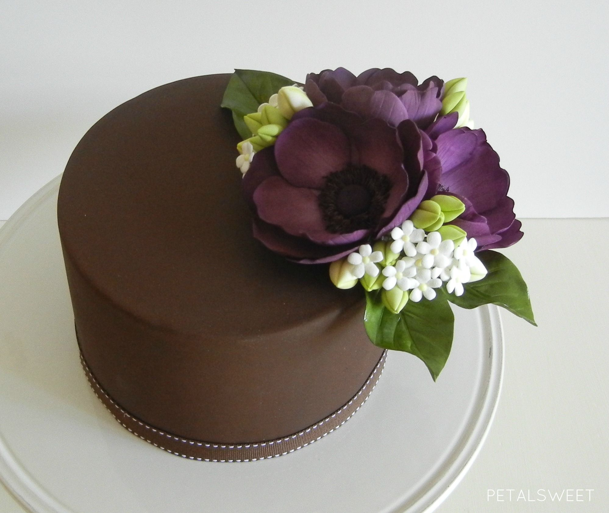 45 Wedding Cakes With Sugar Flowers That Look Stunningly: Purple Anemones With Our Hydrangea And Filler Flowers. One