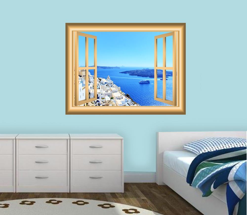 Beach Scene Window Frame Cityscape Peel And Stick Wall Decal