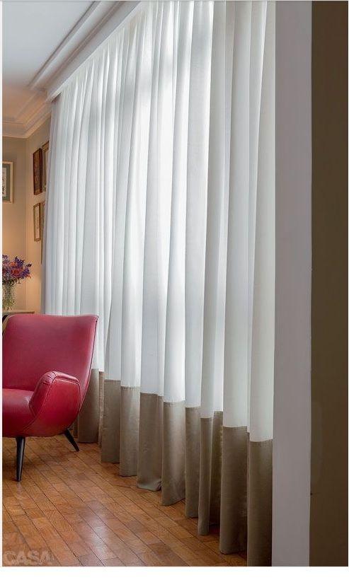 cortina de linho com barrado Curtains Pinterest Cortinas