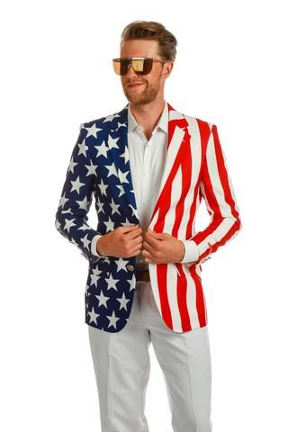 The New And Improved Tommy J American Flag Blazer Shinesty American Flag Clothes American Flag Suit Usa Outfit