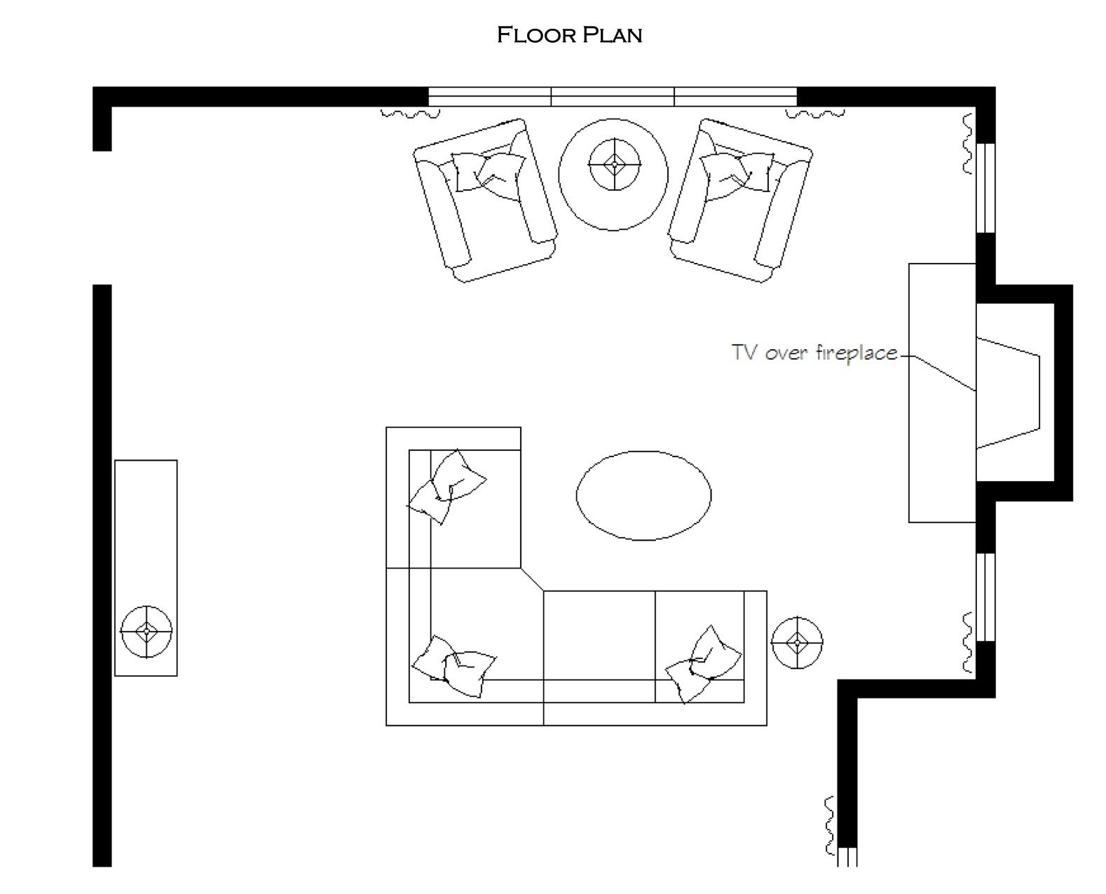 Living Room Floor Plan living room floor plan; sectional, tv over fireplace, reading area