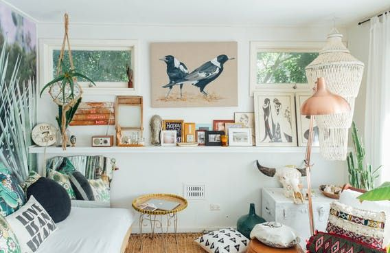 Bec   house is  vintage mix of and surf vibes it painted blush pink there an olive green volkswagen in the driveway surfboards lean by also tour boho maximalism western australia room sov rh pinterest