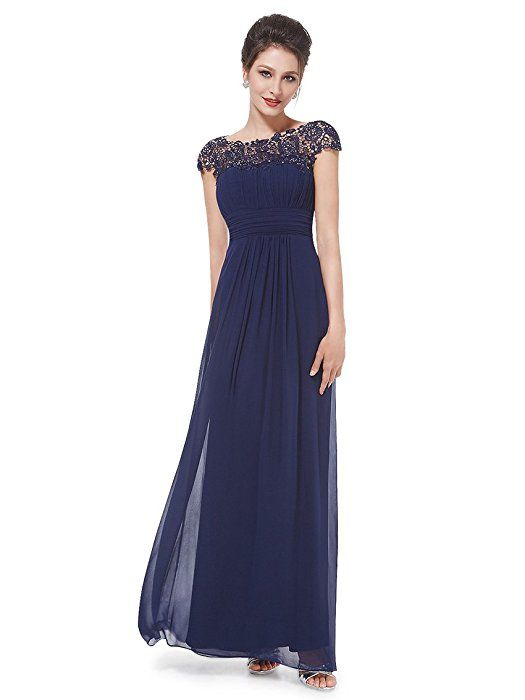 Ever Pretty Damen Lace Rueckseite Offen Chiffon Lange ...