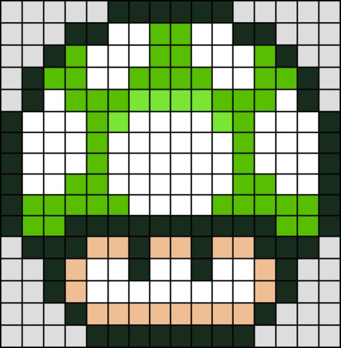 Champignon Vert Super Mario En Perle Hama Mini Perles