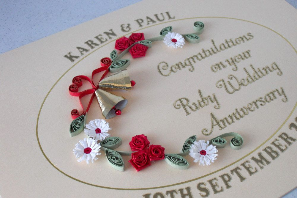Quilled th anniversary card ruby wedding by paperdaisycarddesign also paper quilling wed rh pinterest