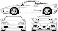 Ferrari 360 Spider Blueprint Desenhos De Carros Carros E Desenhos