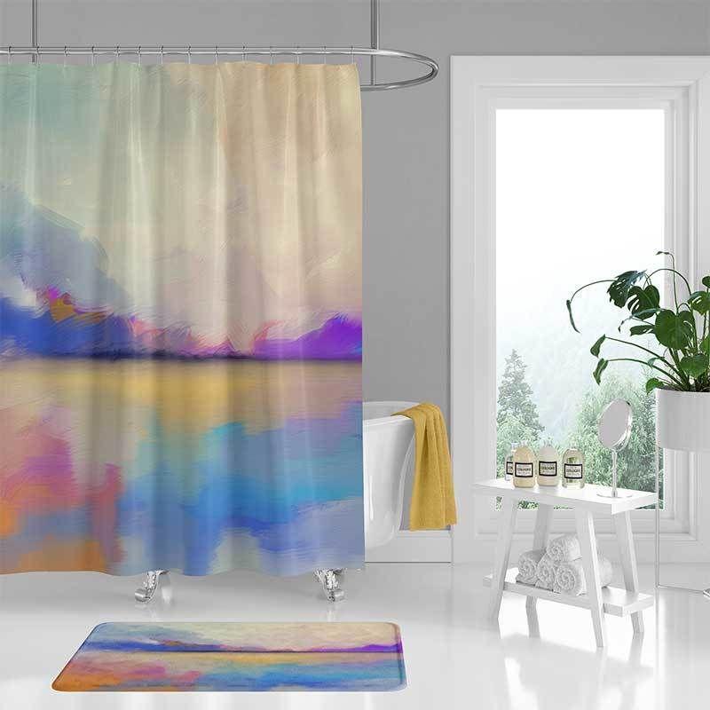 Seascape Shower Curtain Unique Bath Curtain Bath Mat Blue Pink