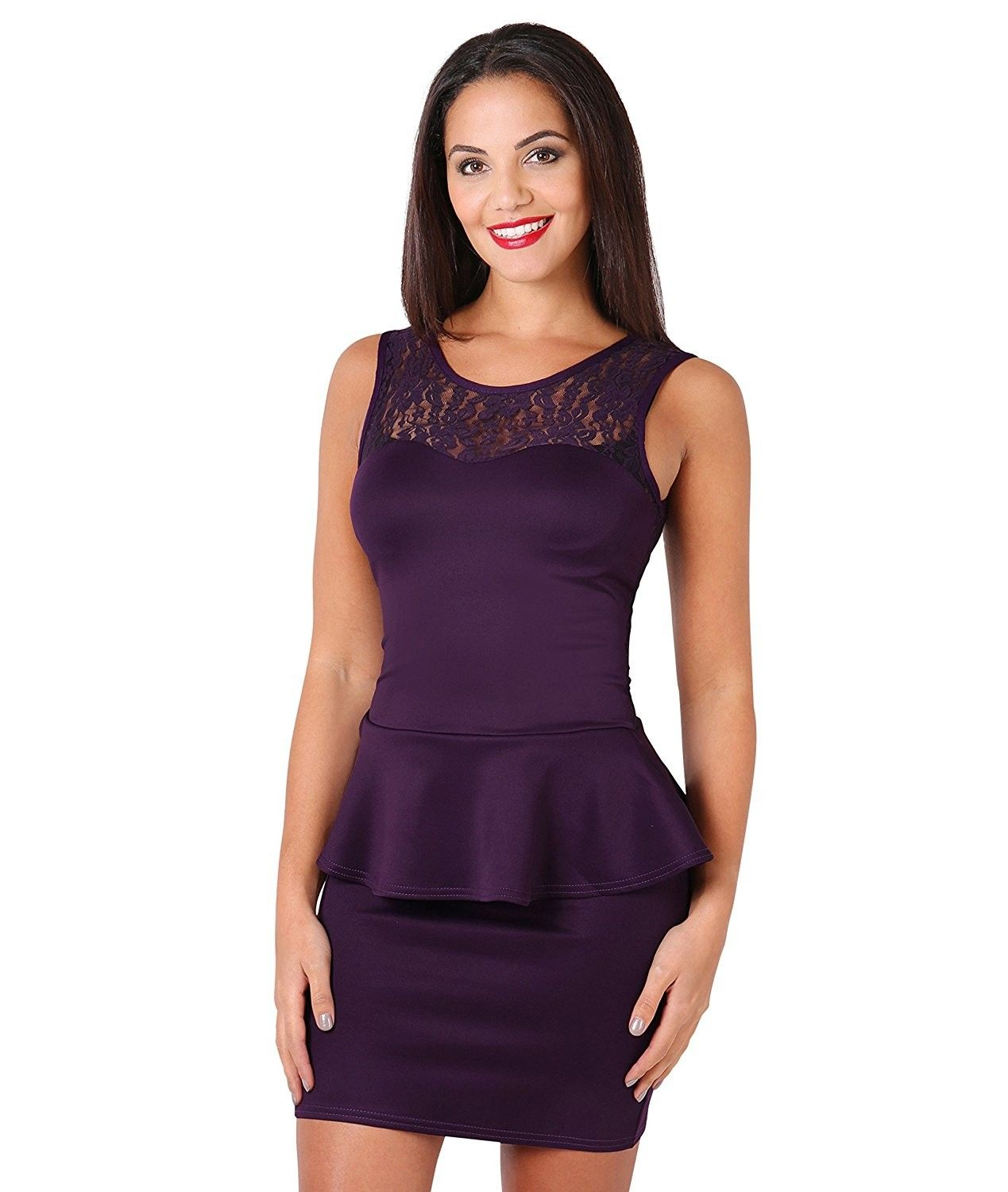 7ac533472cc Womens Party Club Cocktail Lace Frill Peplum Sleeveless Bodycon ...