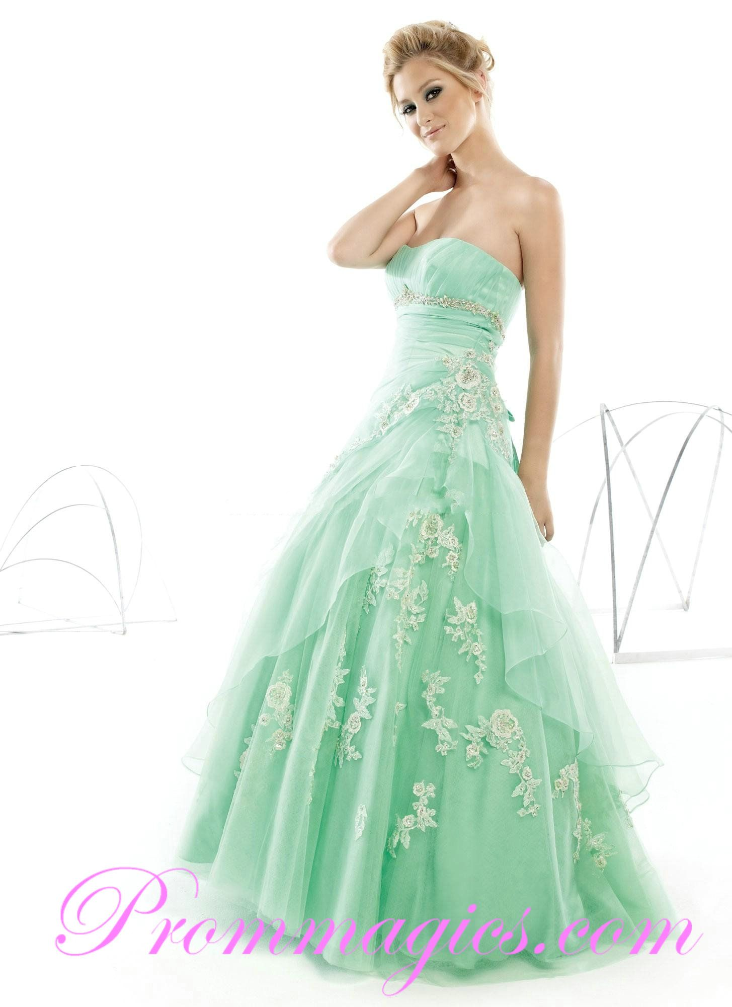 Ball Gowns | Cheap Floor Length Green Prom Dresses with Strapless ...