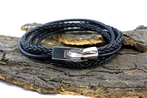 Leather Bracelet braided black for men by SallyBelle2013 on Etsy