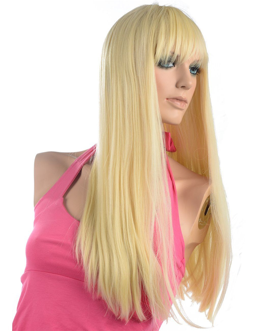 Namecute Bleach Blonde Wig Long Straight with Bangs Full Cap Synthetic Wigs  Natural Hair for Women 24 Inch    This is an Amazon Affiliate link. 0282261b8f