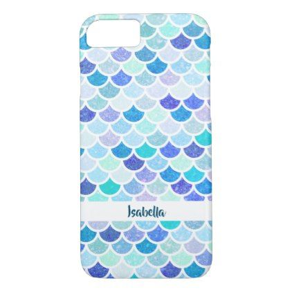 lovely blue and teal mermaid scales pattern iphone 8 7 case in 2018
