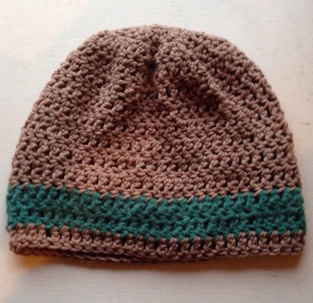 Teal and taupe beanie cap by LisaSchwimmer on Etsy https://www.etsy.com/listing/262525468/teal-and-taupe-beanie-cap