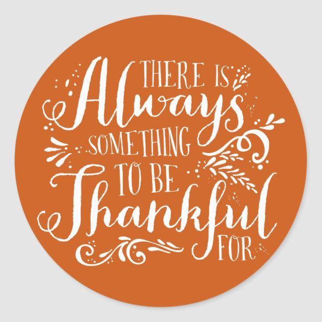 Be Thankful Script Orange Thanksgiving Sticker | Zazzle.com