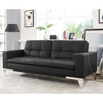 Brooklyn Bonded Leather Euro Lounger Black