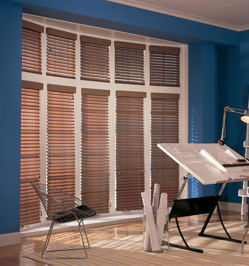 Comfortex Woodwinds SCurve 2 Faux Wood Blinds shown in