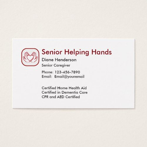 Senior Home Care Business Card Zazzle Com In 2021 Home Health Care Home Health Home Care