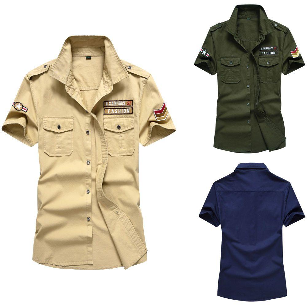 Yellow dress shirt men  Luxury Army Menus Casual Slim Fit Air Force Short Sleeve Dress