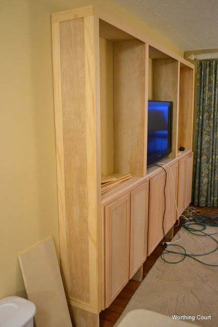 How to build bookcases using kitchen cabinets for the base for Kitchen cabinets 6 inch