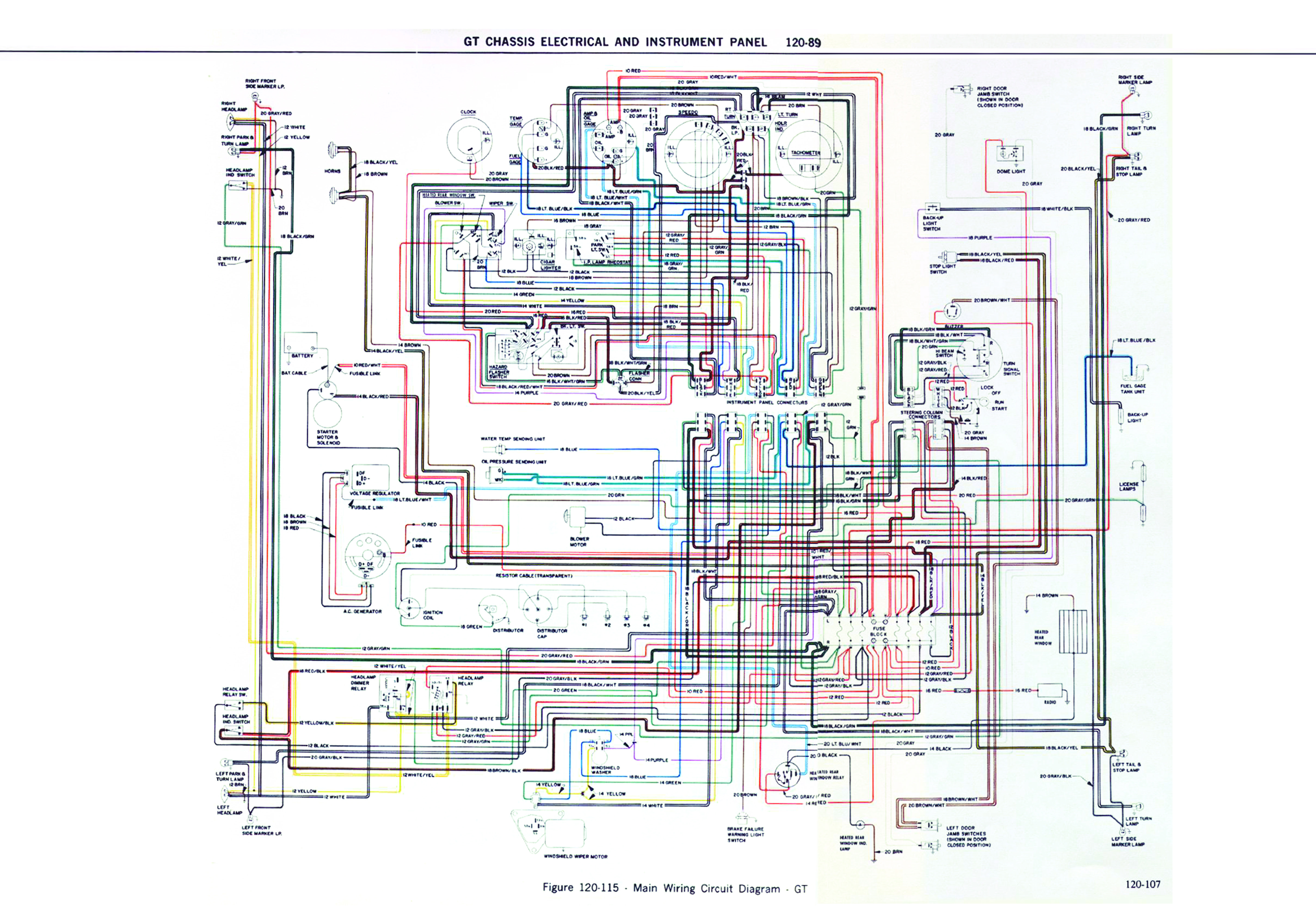 OPEL GT 1900 DIAGRAM CHASIS ELETRICAL AND INSTRUMENT PANEL