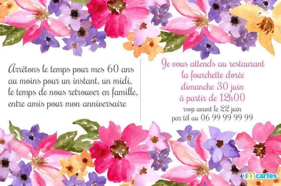 Invitation Anniversaire 60 Ans Aquarelle De Fleurs Invitation