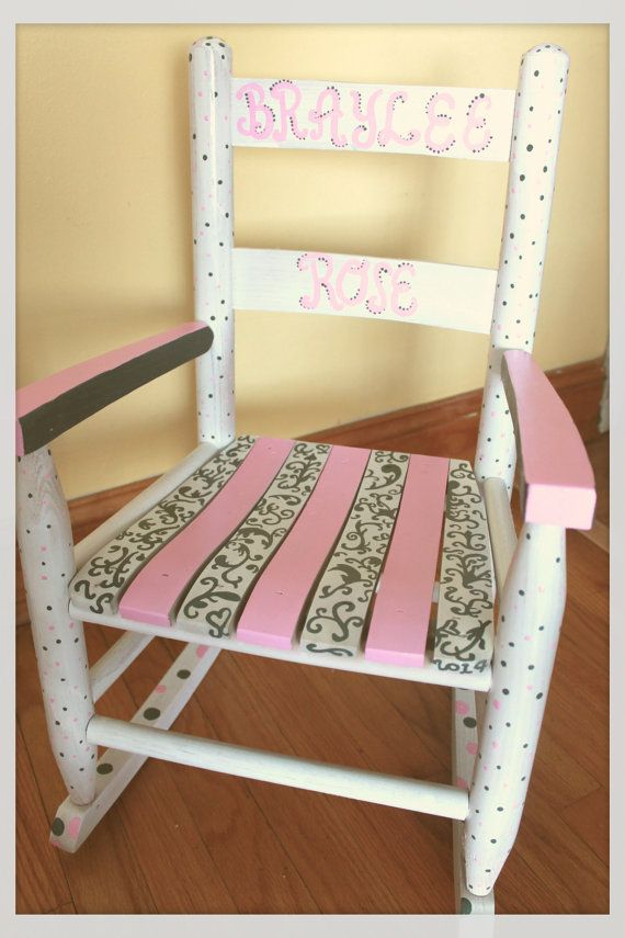 Child Rocking Chair  Kid Rocking Chair  Small Rocker  Pink And Grey   Personalized Hand Painted Rocking Chair