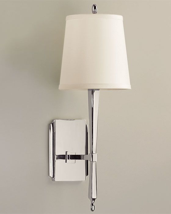One-light solid brass sconce with polished nickel finish ...