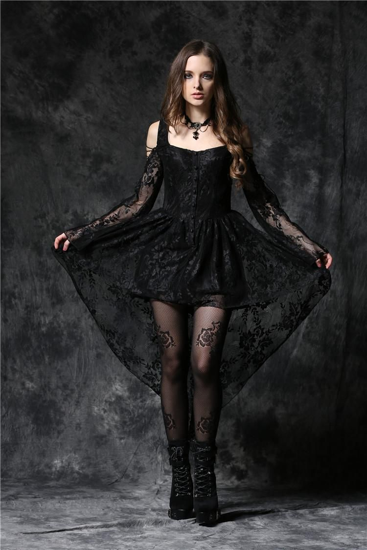 Cheap black dark in love gothic ghost dovetail lace prom evening