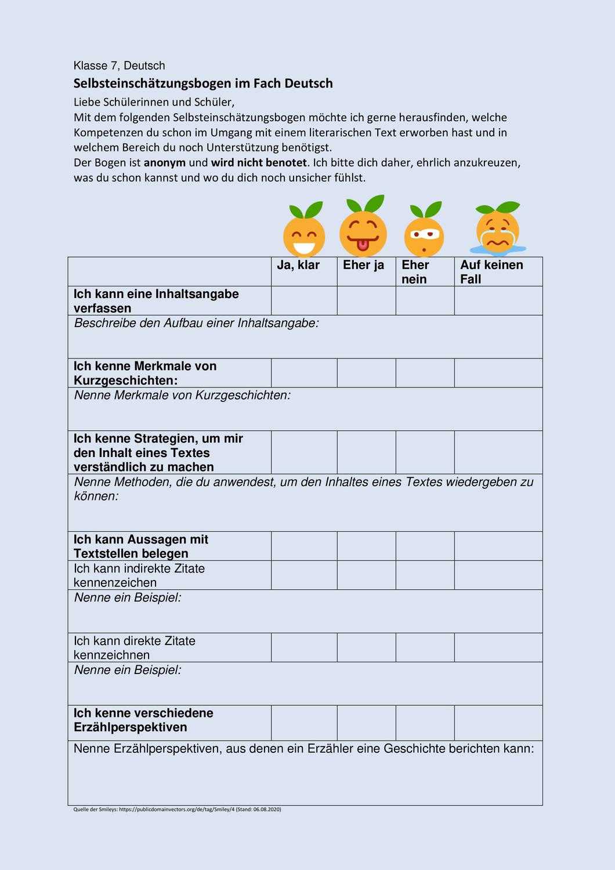 Selbsteinschatzungsbogen Deutsch Klasse 7 Unterrichtsmaterial Im Fach Fachubergreifendes In 2020 Neues Schuljahr Erste Klasse Realschule