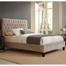 Reims Vanity Mouse Beige Upholstered Bed Queen,King,Cal King by FBG
