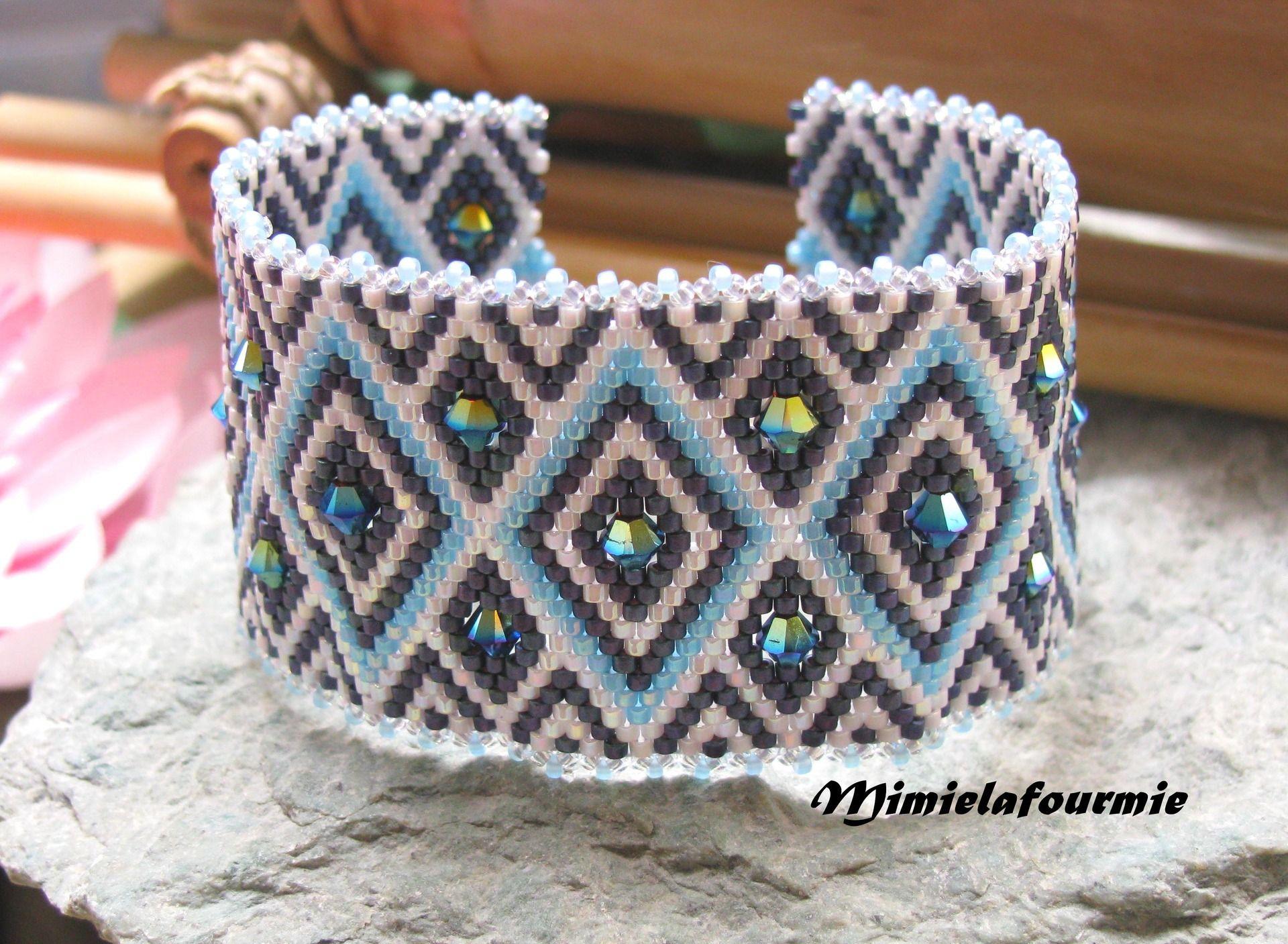 Bracelet Manchette Perle Miyuki - Triangle Bleu et Blanc + Swarovski ...