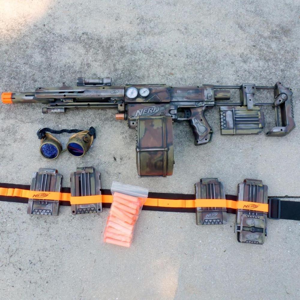 Nerf Long Strike CS-6 Sniper Rifle Gun, Barrel Extension, Scope, Bi POD 3  clips