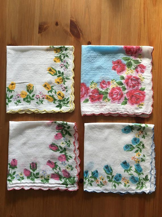 Check out this item in my Etsy shop https://www.etsy.com/listing/526787507/hankie-set-of-4-hankies-ladies