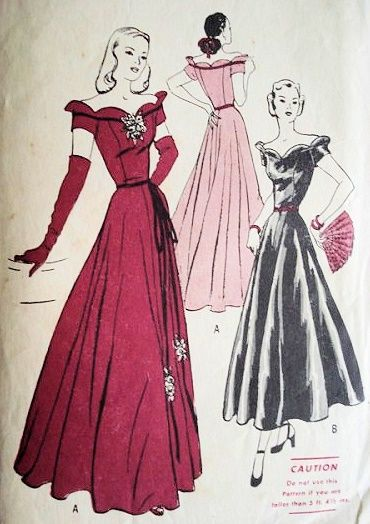 1940s EVENING GOWN PATTERN SCALLOPED OFF SHOULDER NECKLINE, BASQUE ...