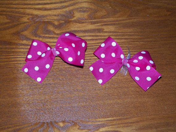 Hot pink hair bows